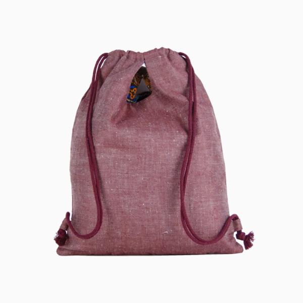 Рюкзак трансформер из льна бордового цвета (артикул EC-5-2)