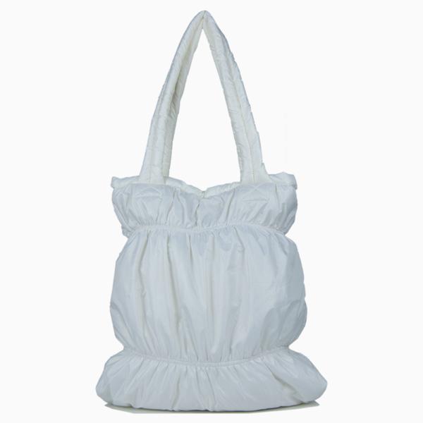 Дутая стеганая сумка белая 4005300107
