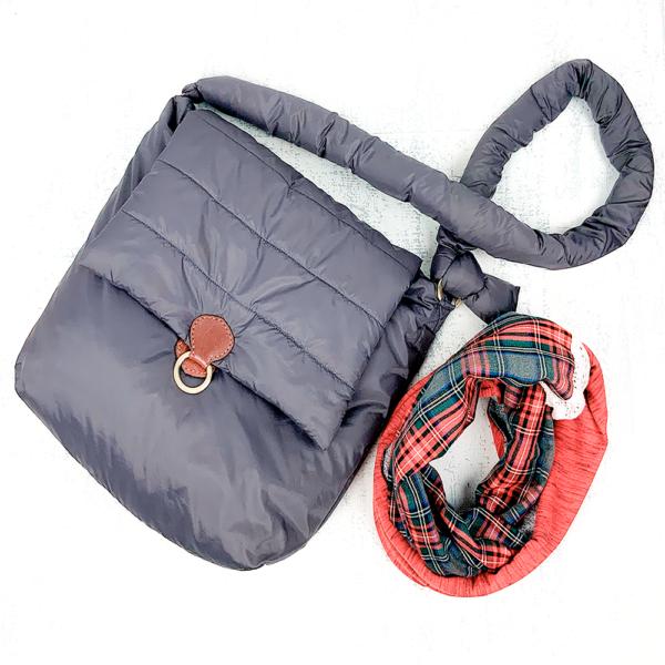 Дутая сумка через плечо серого цвета
